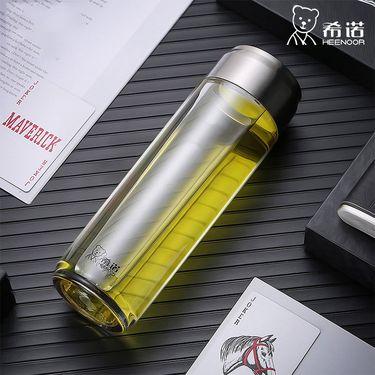 希诺 塑料杯子大容量家用带盖便携防摔户外运动水杯男女创意随手杯  405ml XN-8109