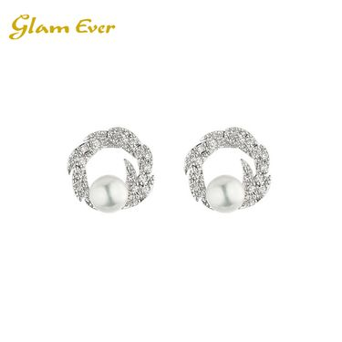 Glam Ever 锆石镶嵌镀白金 薰衣草花环珍珠耳钉 银色 OE1802 洲际速买