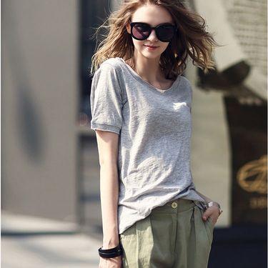 雅可希 夏季新款竹节棉t恤女半袖短袖宽松纯色棉打底衫低领小衫薄1010