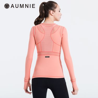 aumnie 澳弥尼丨女士新款运动上衣健身跑步瑜伽服塑形拼接网布T恤