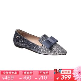 Ozwear UGG 澳洲直邮OZWEAR进口雪地靴亮片蝴蝶结尖头单鞋女鞋带后跟羊毛OB308IVY
