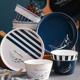 YNA 北欧描金陶瓷套装餐具 蓝色碗盘