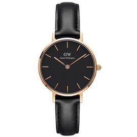 Daniel Wellington 丹尼尔惠灵顿 手表DW女表32mm金色边黑盘皮带女士手表学生手表 (享)