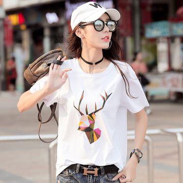 雅可希 新款夏季丅恤女装短袖韩范宽松显瘦棉百搭纯白色T恤体桖T桖607