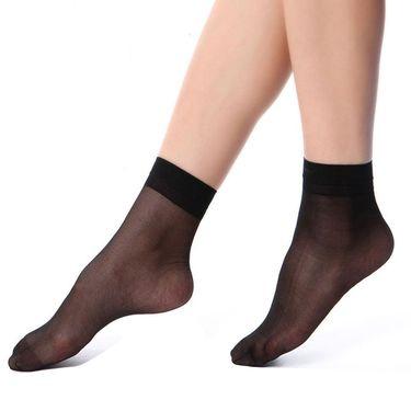 北极绒 3倍耐穿薄款水晶丝透明脚尖加固女士短丝袜10双装