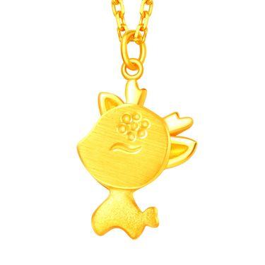 翠绿 黄金项链 足金999女款圣诞小鹿黄金套链A01000110637