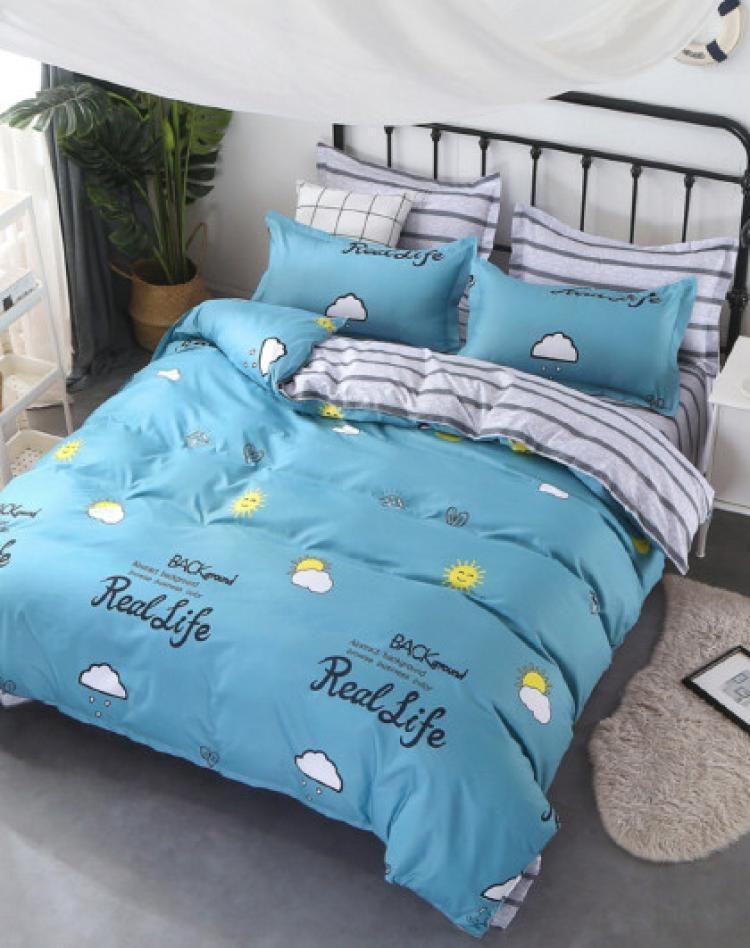 蓝典 亲肤时尚印花床上套件单人床三件套双人床四件套 阳光